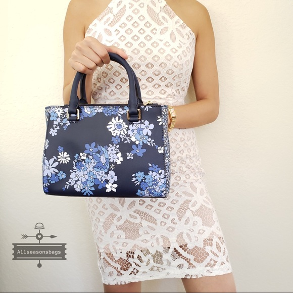 d707729f3650 NWT Michael KORS Kellen Floral Navy Satchel Bag